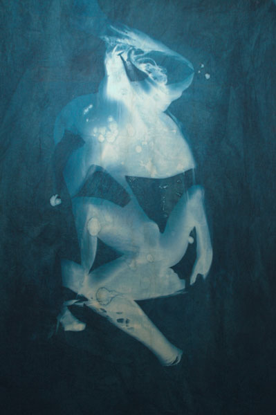 Summertime Blues #1 Cyanotype on canvas 125 x 186.5 x 4 cms
