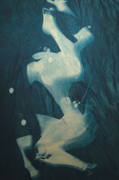 Summertime Blues #2 Cyanotype on canvas 125 x 186.5 x 4 cms