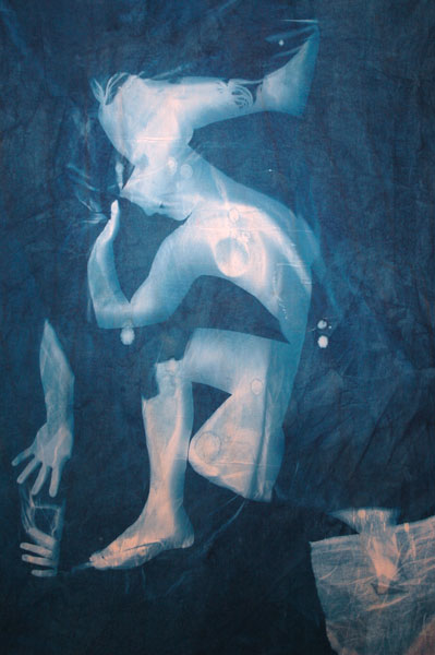 Summertime Blues #3 Cyanotype on canvas 125 x 186.5 x 4 cms