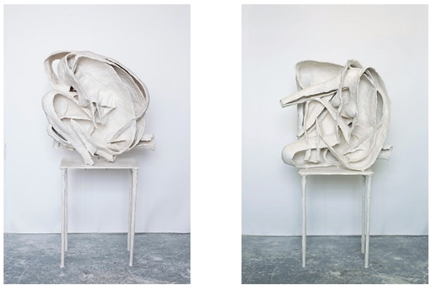 Curl 1 , &  Curl 2 , 2013  Plaster, fabric, glass fiber, steel 27 3/5 × 19 7/10 × 23 3/5 inches