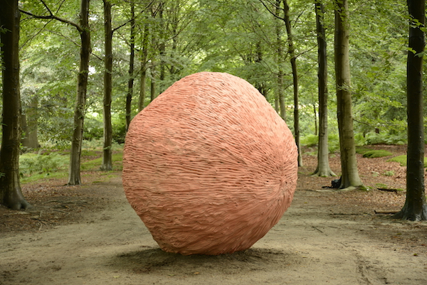 Blind Spot 2,  2015 Aquaresin, steel, aluminum, glass fiber, pigment 80 x 80 x 84 inches installation view,  Lustwarande 2015, commission of new monumental sculpture, De Oude Warande forest, Tilburg, Netherlands,