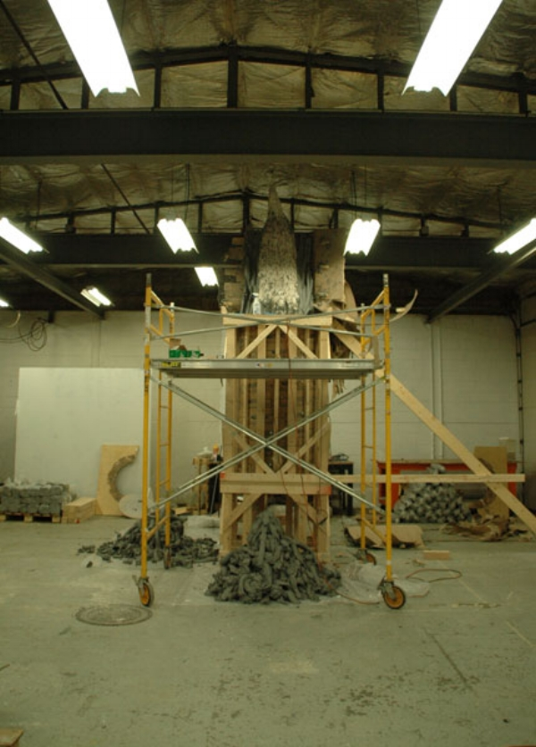 - Making of 'Climb', opening the mold. Sculpture Space Residency, Utica, NY, 2011.