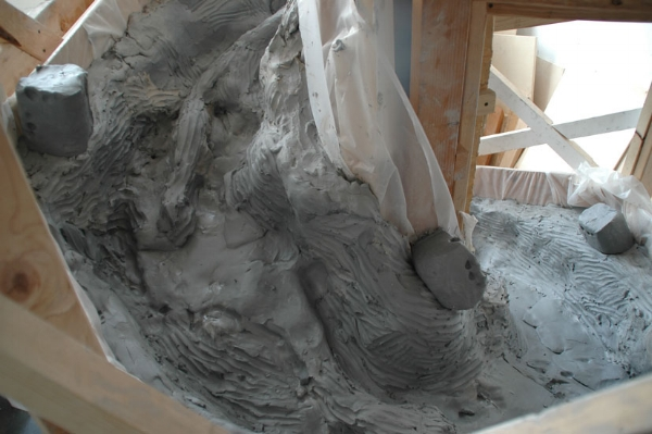 - Making of 'Climb is also the Fall', the spiral mold lined with clay. Brooklyn, 2010.