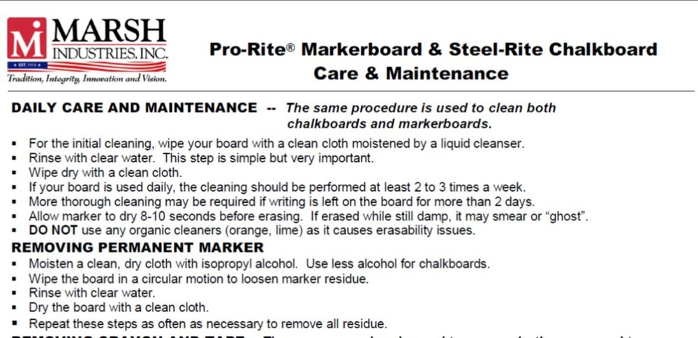 Care Instructions - Overview on Product Care for Marsh Products