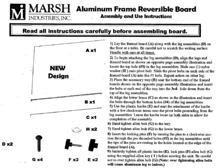 Aluminum Reversible Assembly Instructions