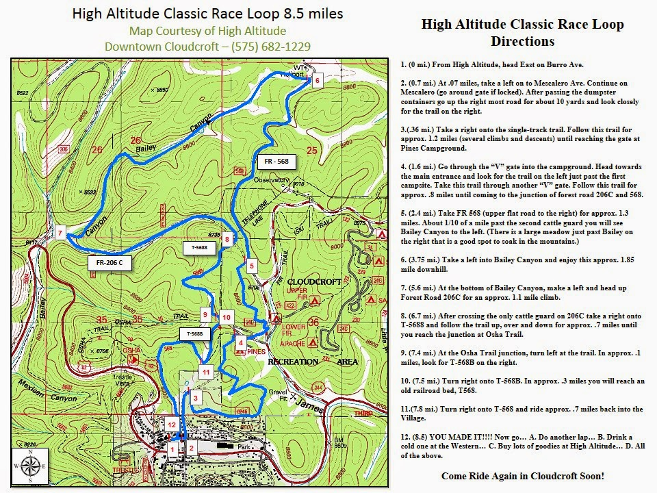 Includes Descriptions, Landmarks, mile markers.... All courtesy of our friends at High Altitude in Cloudcroft.