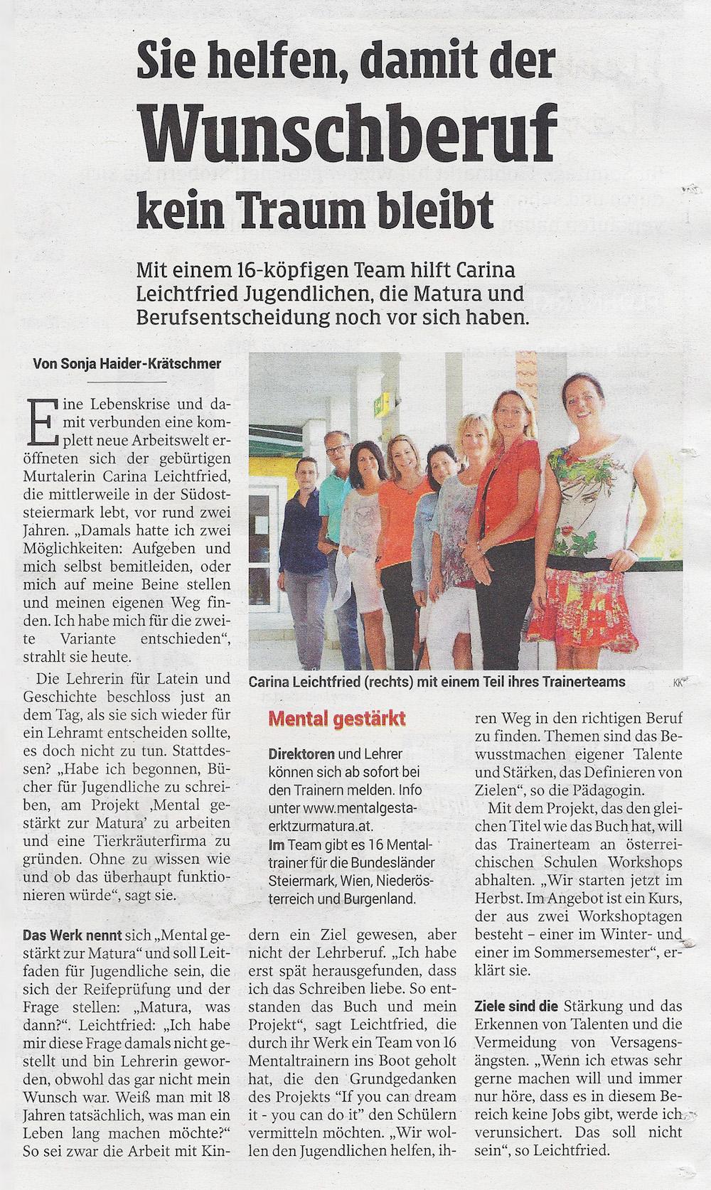 Kleine Zeitung - Am 11. September wurden Mental gestärkt zur Matura Projekt & Team in der Kleinen Zeitung vorgestellt