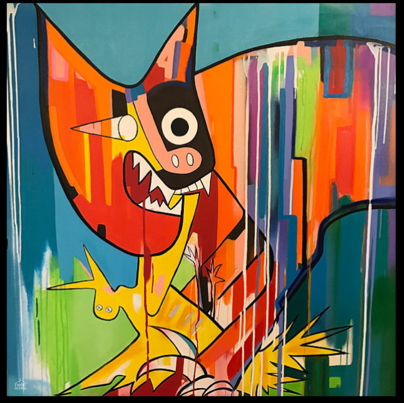 Cat Devouring A Bird  -acrylic spray paint and oil stick on canvas