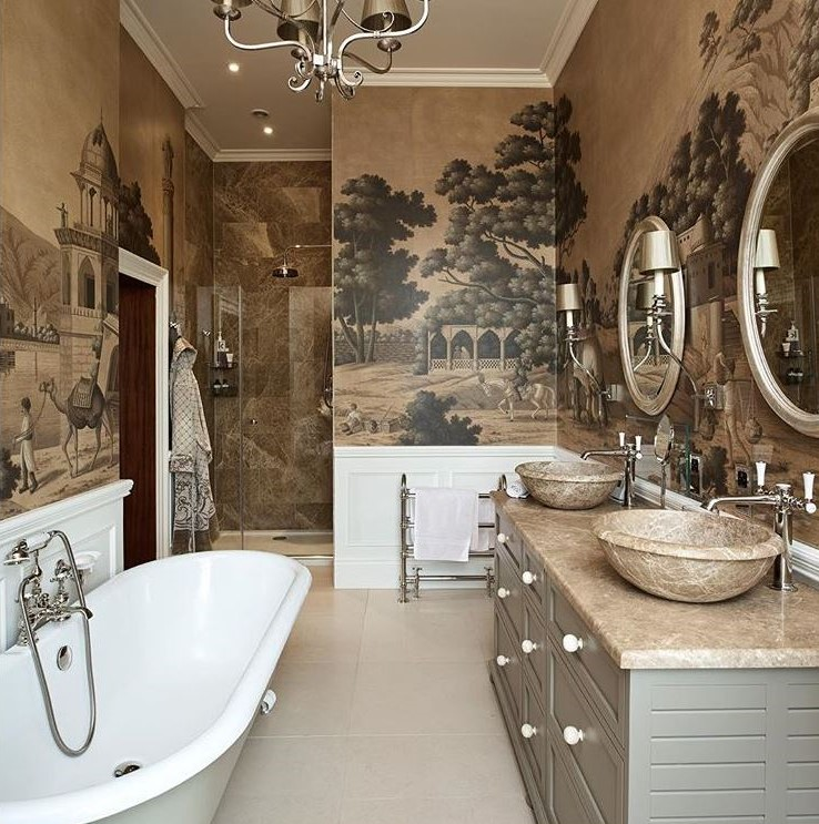 This Bath Designed by Etons of Bath Is Breathtakingly Elevated with paper by  De Gournay . (Image  @etonsofbath ) Could you image this as your bath. The grand scale is amazing. The    de Gournay  paper moves this space from utilitarian to palatial.