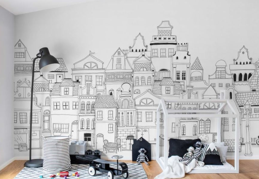 how adorable is this pattern London houses by Rebel Walls? (Image  Rebel Walls )