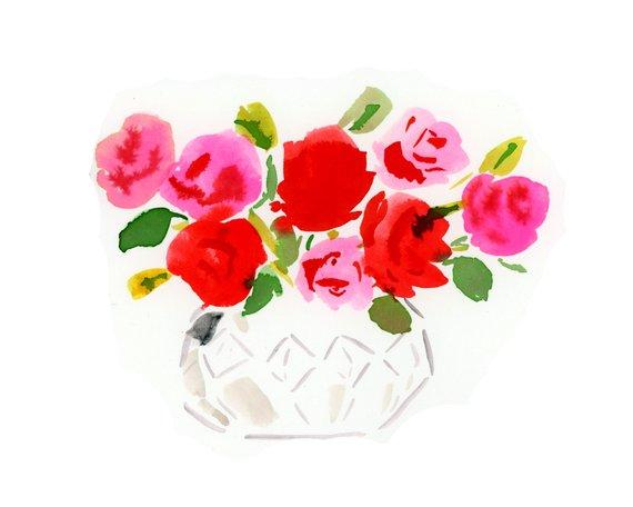Rose Bouquet in a Cut Glass Bowl