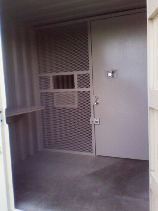 Custom cage and door for seperating spaces inside your storage container