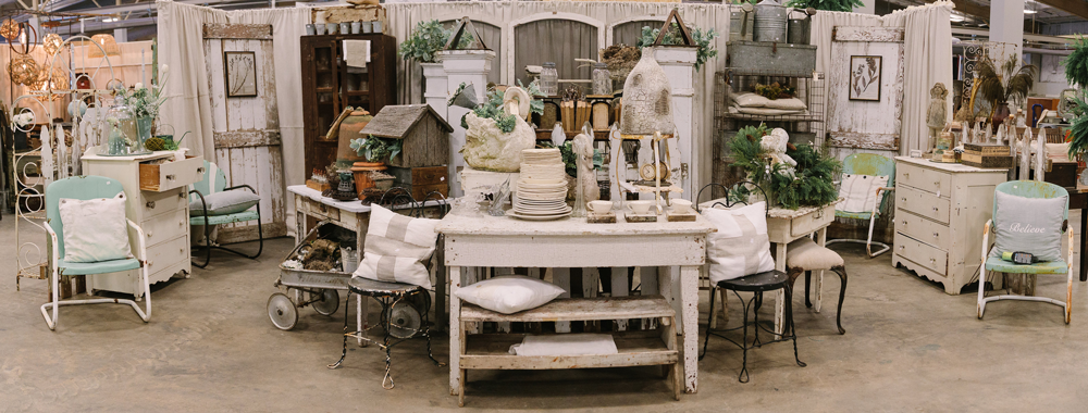 Booth featuring antiques at the City Farmhouse Pop Up Fair in Louisiana