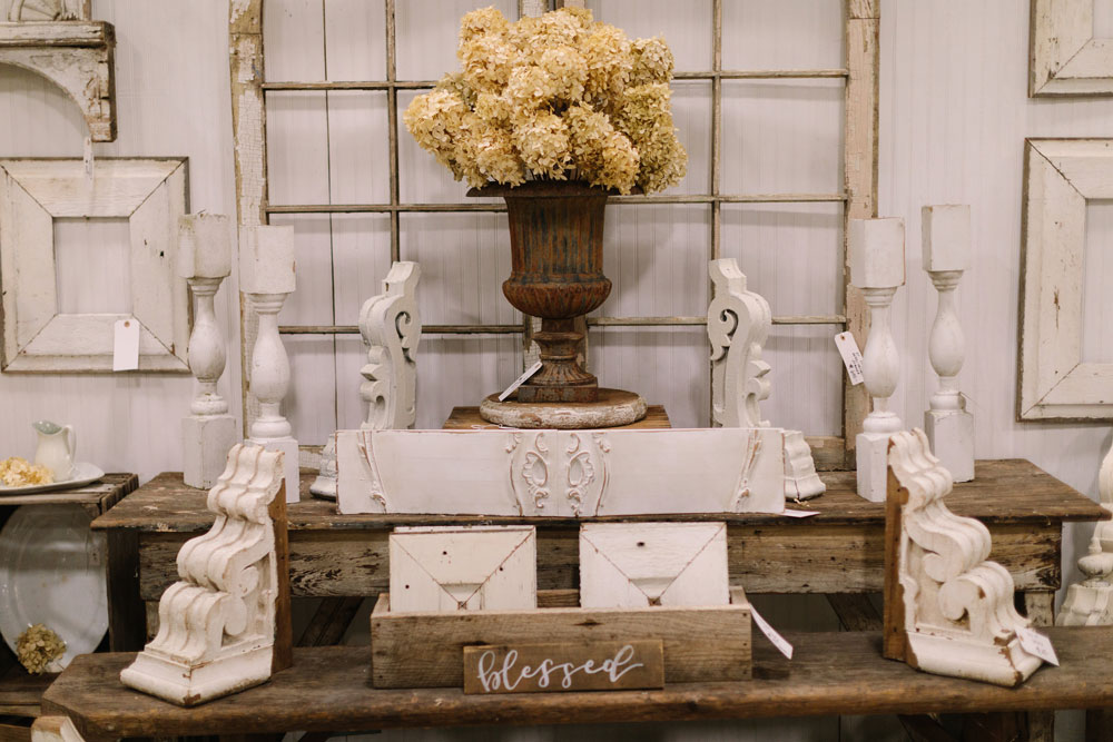White vintage decor at the City Farmhouse Pop Up Fair