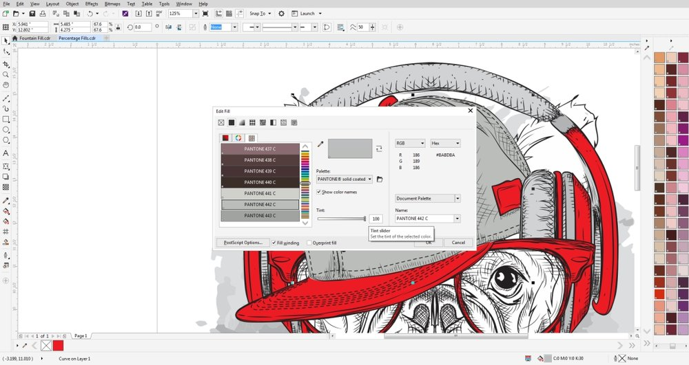 In CorelDRAW you can change the tint of a spot color using the edit fill tool.