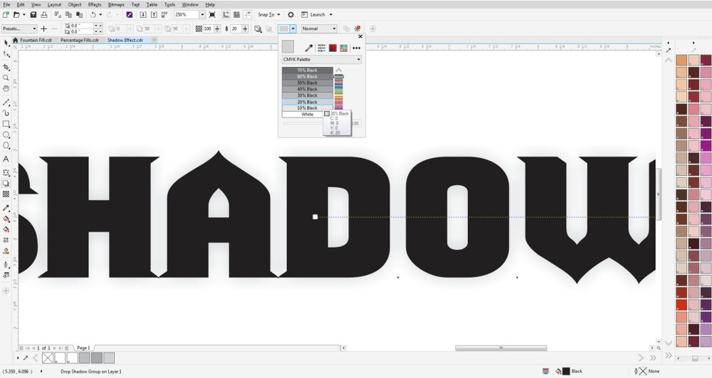 Create a drop shadow in CorelDRAW and adjust the percentage or tint.