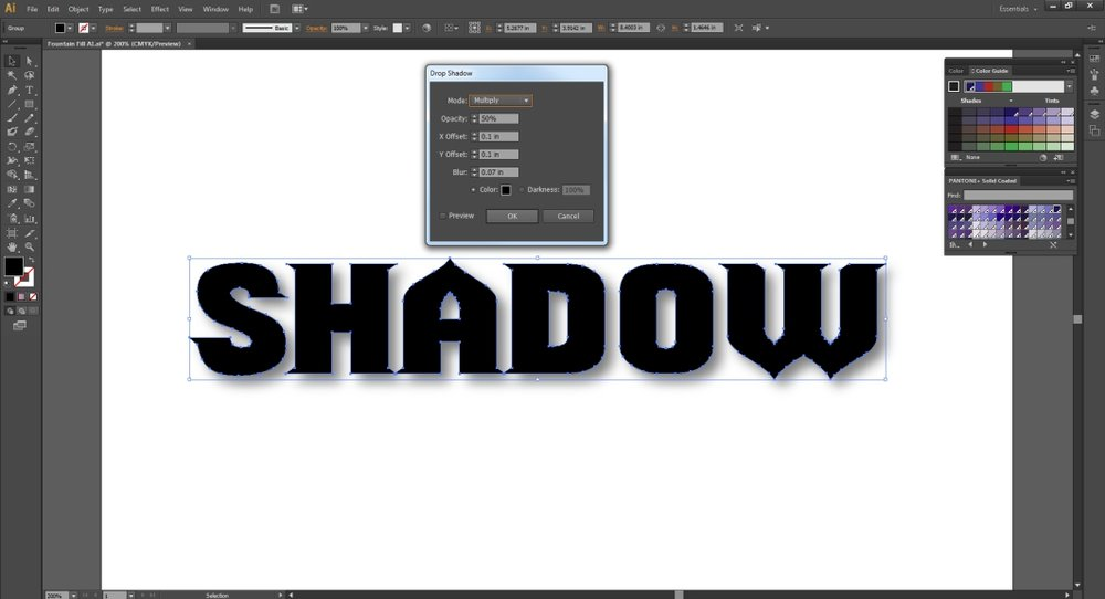 Create a drop shadow in Illustrator and adjust the percentage or tint.