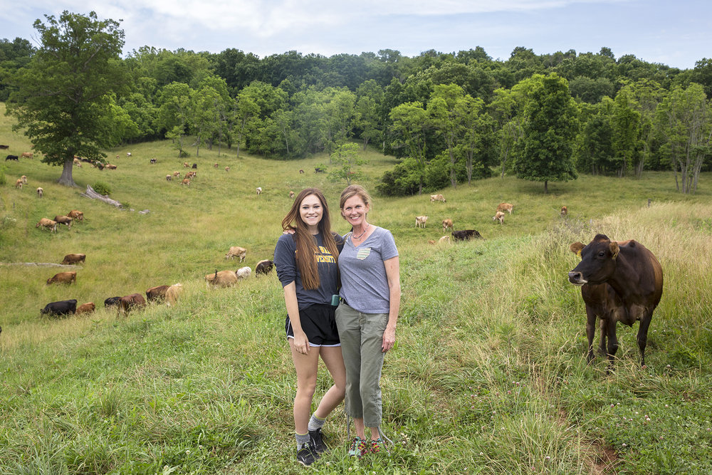 With my daughter, Laurel, at Melody Holler Farm, on assignment at Snowville Creamery