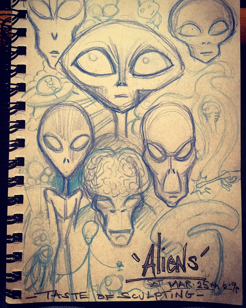 'Alien Edition' - 'Taste Of Sculpting' Workshop/ Wine Tasting  Saturday, March 25th 6-9pm   Get creative or bring back memories of the UFO you saw. Learn to sculpt what you may or may not have seen...While tasting 5 delicious wines.