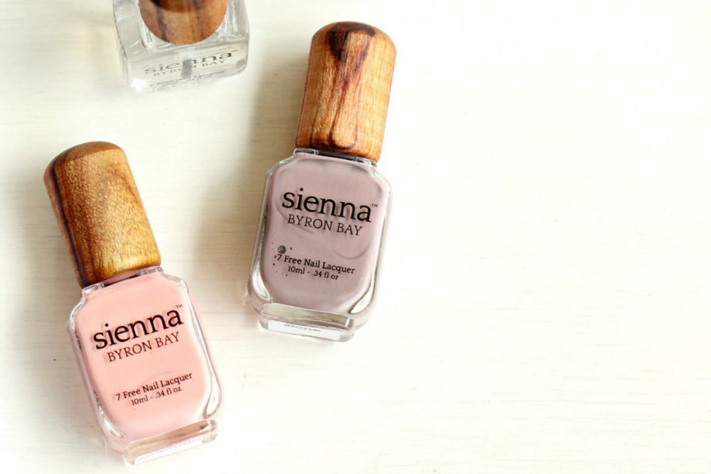 Sienna     www.siennabyronbay.com.au    Hailing from Byron Bay, Sienna nail polishes are eco-friendly, non-toxic, vegan, cruelty-free and one of the cleanest polishes on the market.