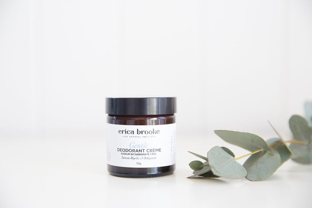 Erica Brooke     www.ericabrooke.com.au     Erica Brooke's  products are made from unrefined and organic ingredients, use minimal packaging, and contain no chemicals or harsh alcohols.