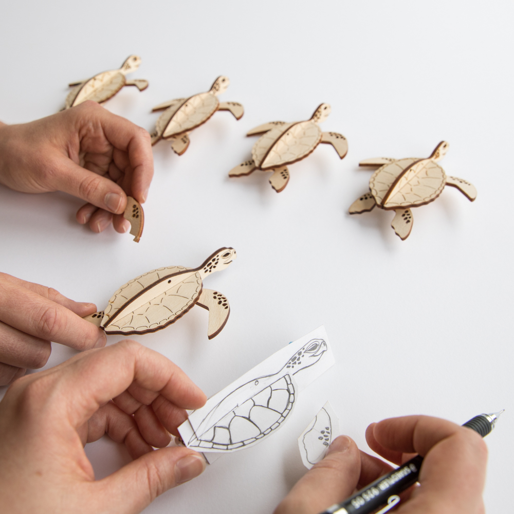 laser cut turtles