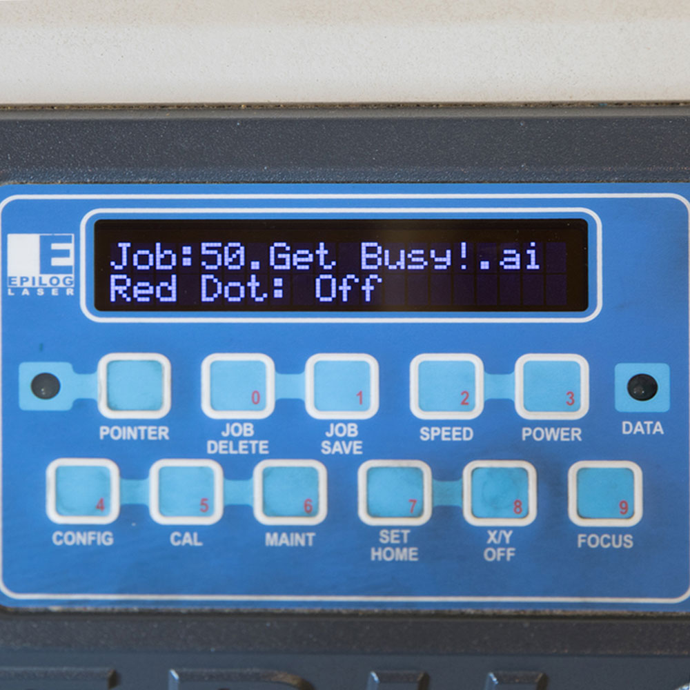 Laser cutter control panel displaying next job.