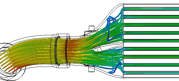 Flow simulation as seen with 27WON internal fin