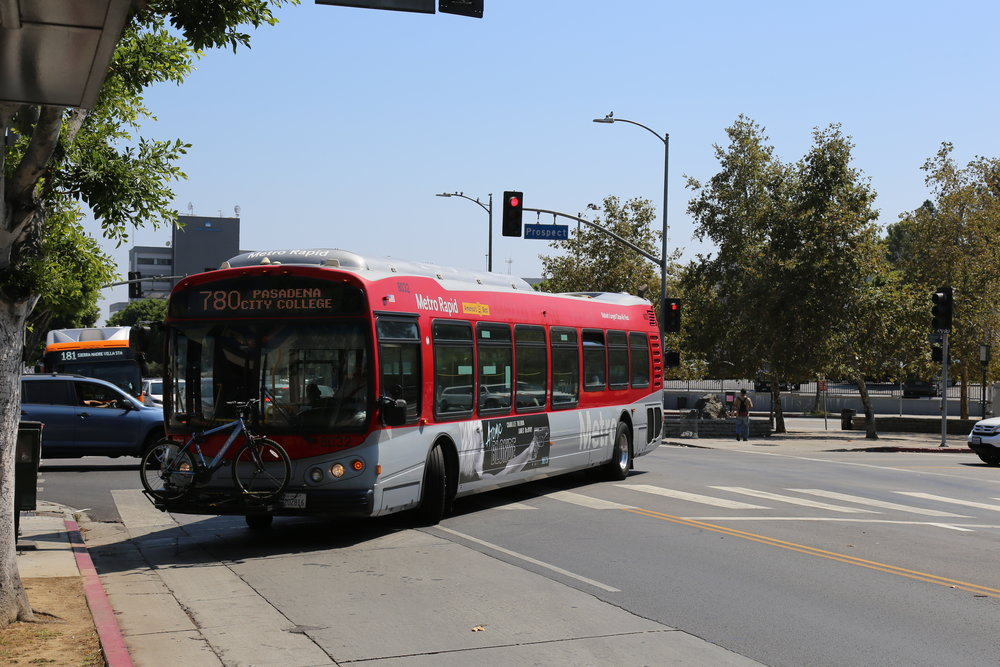 The 780 Rapid Bus in Los Feliz, and the Local 181 behind it