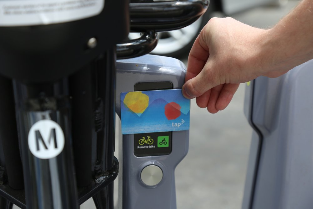 To unlock a MetroBike you register your tap card and then simply place it on the reader to unlock the bike.