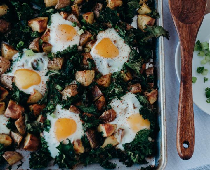 Breakfast Kale & Potato Sheet Pan -