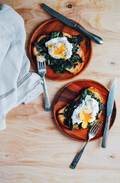 Poached Eggs with Rainbow Chard on Sourdough Toast -