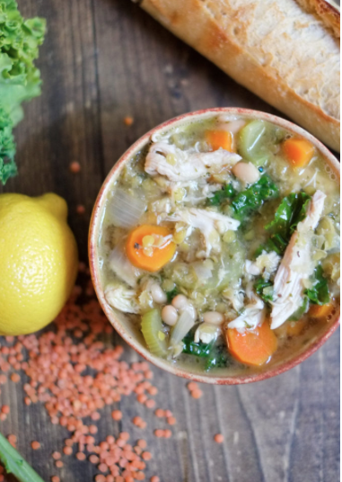 Lemon Chicken Soup with Lentils, Kale & Beans -