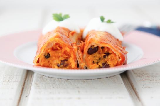 Sweet Potato Black Bean Enchiladas -