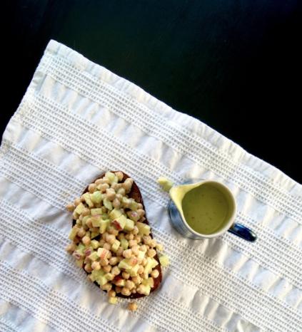 Waldorf Chickpea Salad with Creamy Avocado dressing -