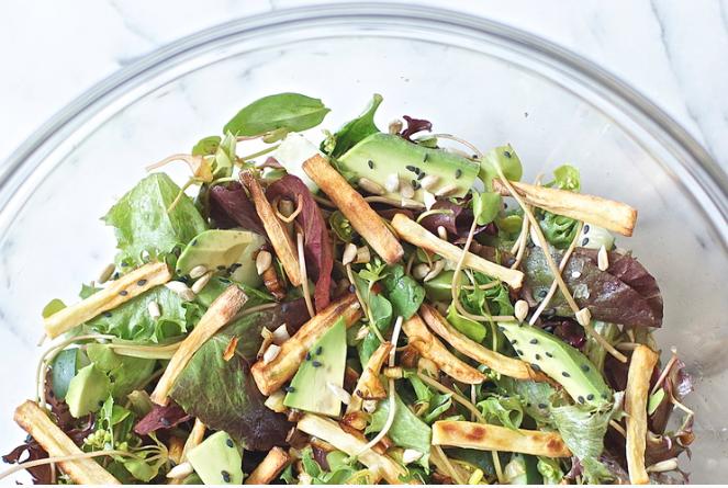 Crispy Spring Garlic + Yam Salad -