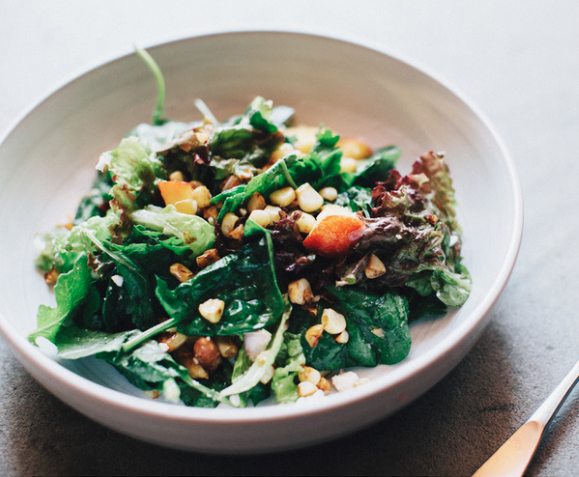Green Salad of Nectarines, Corn + Peanuts -