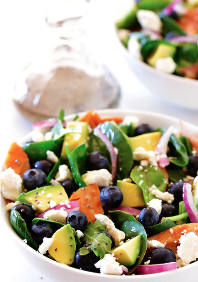 Salad with Salmon, Avocado and Blueberries -