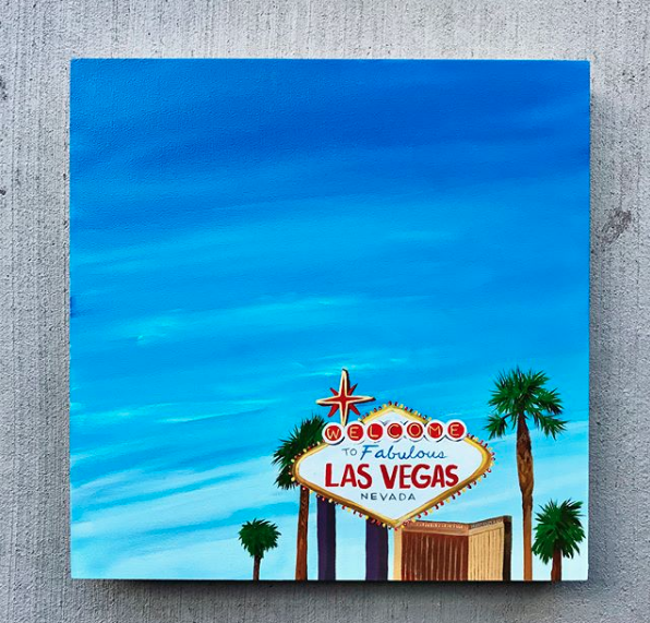 Las Vegas - This is a Las Vegas commission that I created for my amazing, and talented friend. I loved painting the little light bulbs around the Vegas sign! The Mandalay Bay hotel (my client's and her husband's go-to spot) glows on the horizon. One of my favorite parts about custom orders is adding in unique details that bring back memories for my clients.