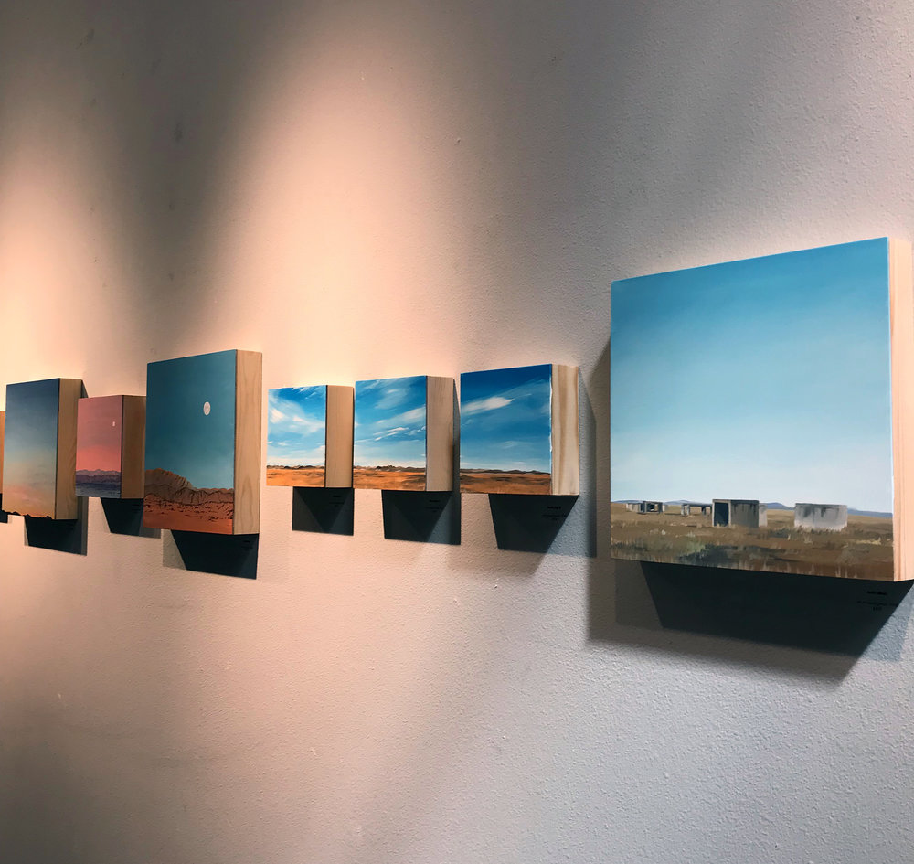 "Installation image of  ""Wilderness: Horizons to California""  on view at the Austin Bouldering Project in October 2018."