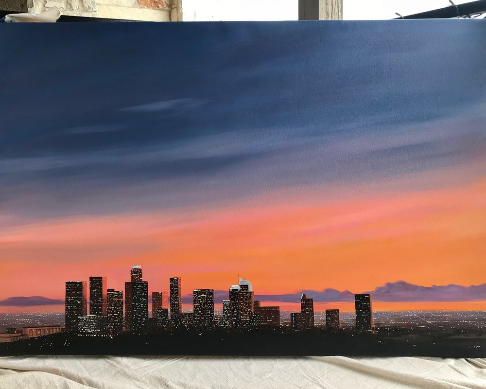 Downtown LA - At 40x60inches, this XL commission was completed for an amazing client in Los Angeles. I love how the sunset fades over the horizon and your eye can travel across the skyline. The sprawling architecture of downtown LA is adorned with hundreds of glittering city lights. This project was so rewarding to work on and has inspired me to start making more larger works in my studio for 2019.