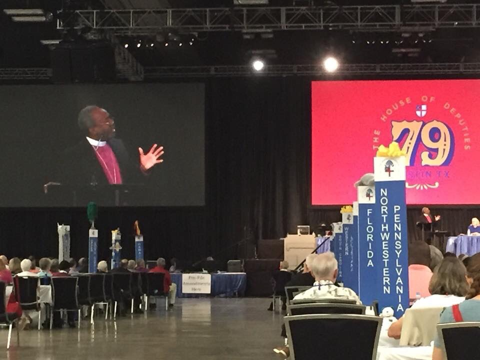 "The Most Rev. Michael Curry, Presiding Bishop of the Episcopal Church, gives a rousing ""sermon"" at the 79th General Convention. Photo courtesy of @texasbishop"