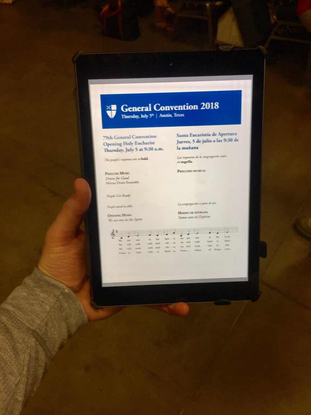 Worship leaflets and resolutions are all on iPads or other electronic devices. Transitioning to digital resources saved an estimated one million pieces of paper in 2015.
