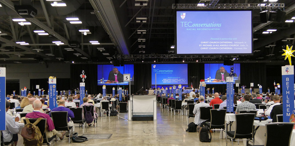 One of General Convention's TEC onversations,  this one on racial reconciliation. The Diocese of Bethlehem's deputation table (and star!) is seen on the right. Photo credit to Episcopal News Service.