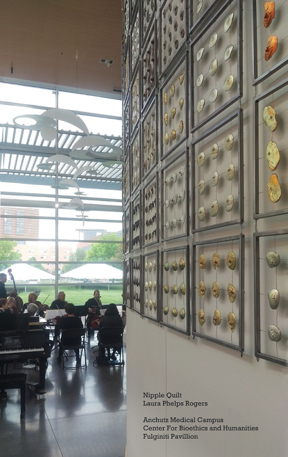 Nipple Quilt - Laura Phelps Rogers, Fabricated Steel, Cast Iron, Bronze, Tin, Copper, Silver and Gold Leaf. - Anschutz Medical Campus, Center of Bioethics and Humanities, Fulginiti Pavilion.