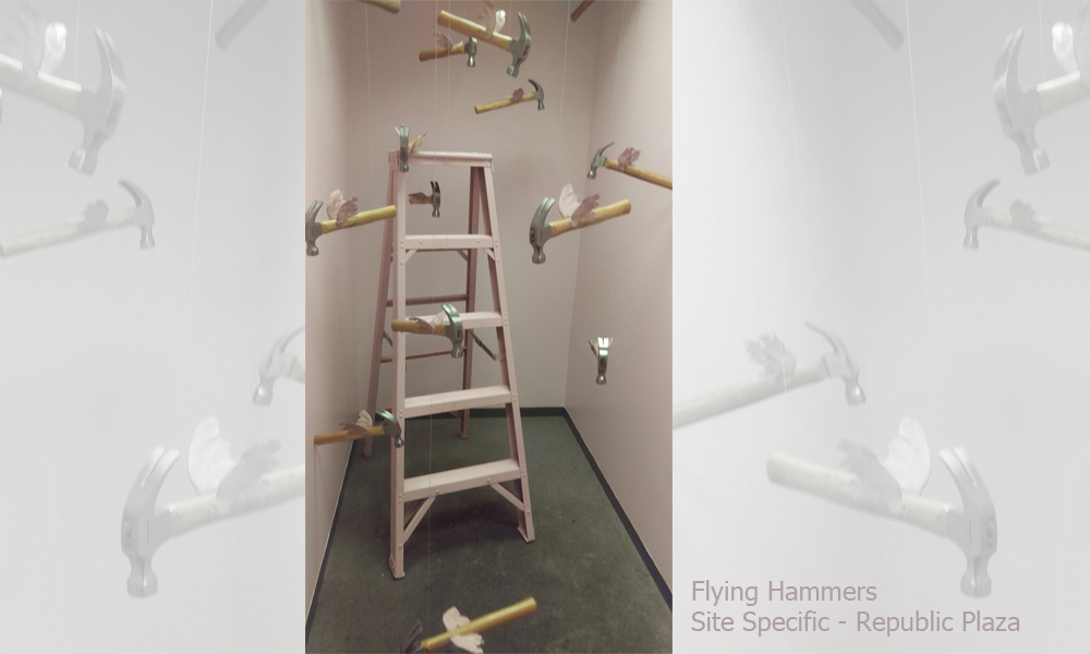 Flying Hammers - site specific installation - Republic Plaza