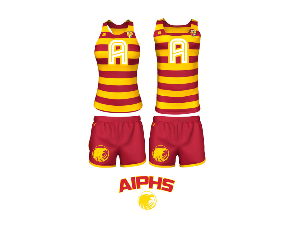 "AIPHS ""Modern Throwback"" Cross Country Uniforms    The AIPHS Cross Country uniforms are the most fully customized AIMS sports uniforms to date.  These ""throwback"" uniforms feature classic alternating red and athletic gold rugby stripes and introduces the new AIMS ""Block A"" that is prominent in the center of the singlet athletic top.  The red endurance shorts evoke modernity, are edged with athletic gold binding, and feature the Golden Eagle Spiritmark on the right thigh."