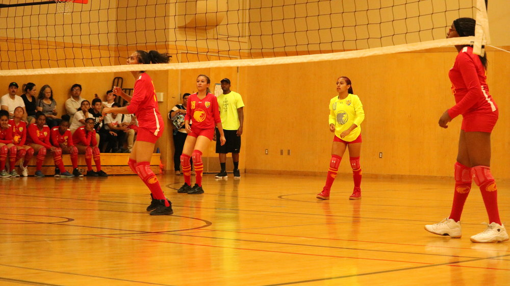 Captain Paola Baron (#10) wearing her neon green libero uniform. The Lady Eagles would win 3-2 in five sets.