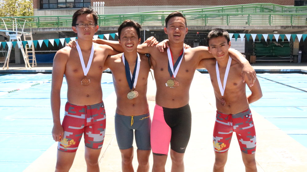 Seniors Aiden Yip and Nathan Huynh teamed with freshman Felix Tran and sophomore Emerson Velasquez in the Men 400 Yard Freestyle Varsity Relay to earn a third place bronze medal.