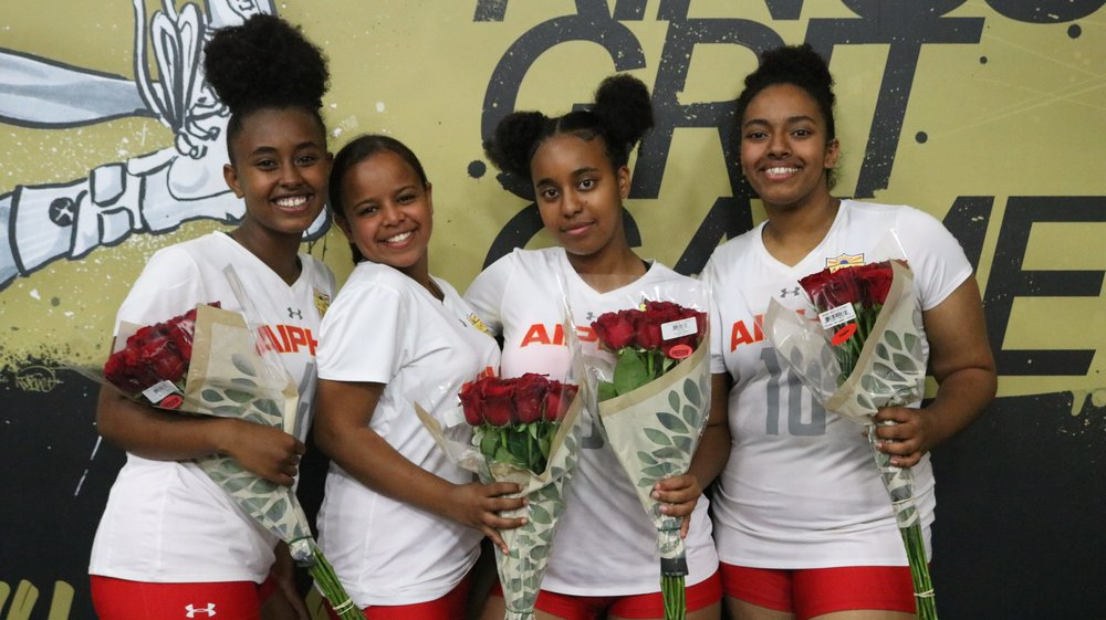 Congratulations to the graduating Lady Eagle Seniors!  (From Left to Right:  #4 Elisabeth Guta (Captain), #10 Naomi Yemane, #3 Heba Mengesha, and #16 Liwam Tesfazion (Captain))